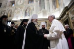 Pope Francis greets religious leaders during meeting at Vatican
